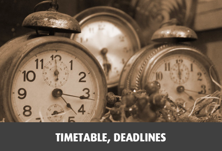 Timetable, deadlines