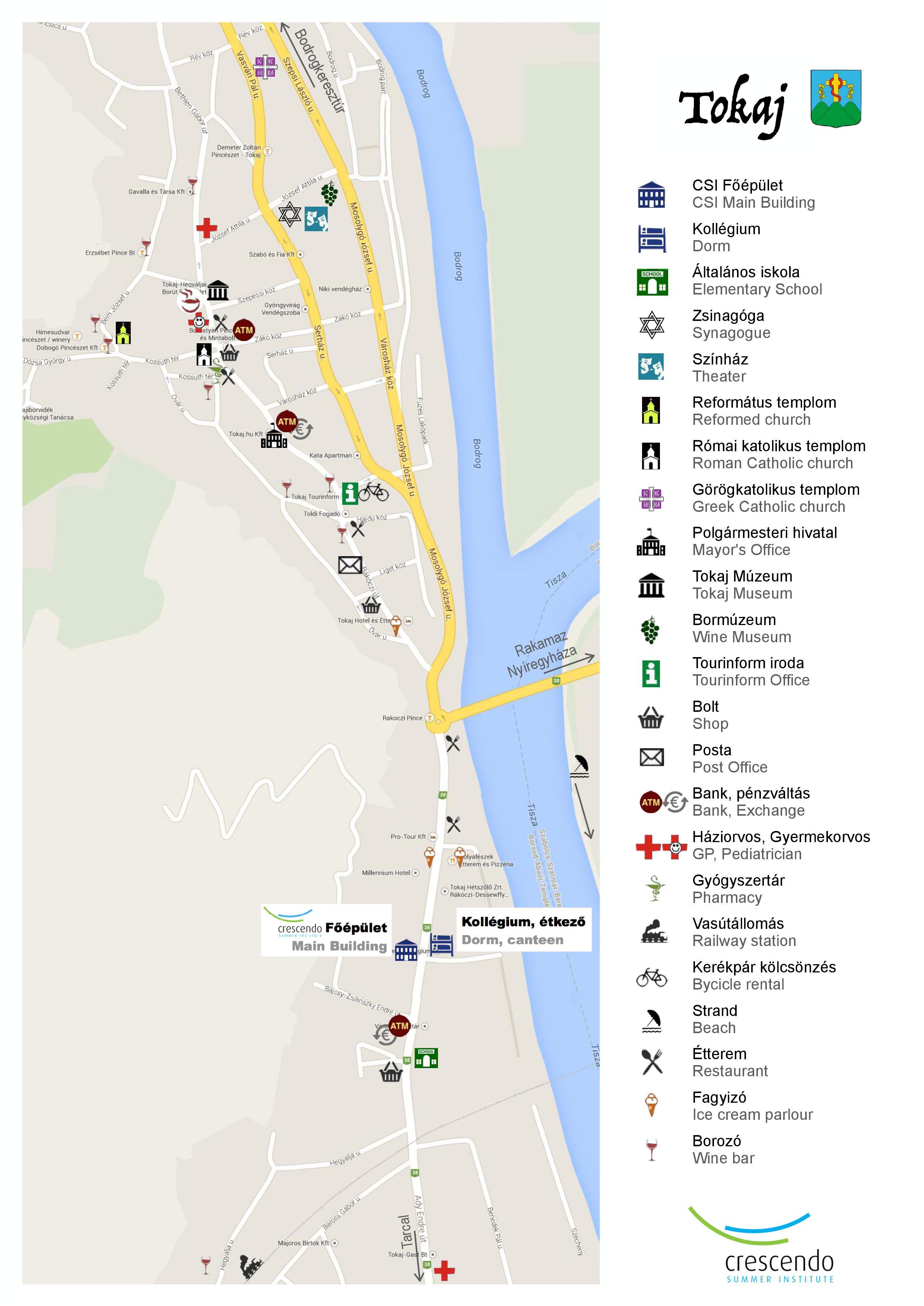 Map Of Tokaj Csi Venues Crescendo Summer Institute